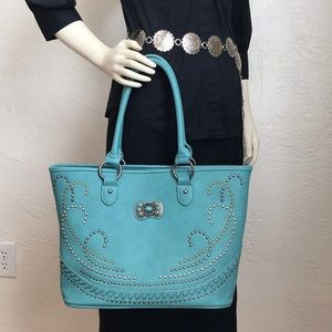Montana West American Bling turquoise leather tote